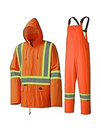 Pioneer V1080150-L Waterproof Lightweight Jacket and Pants Combo, Rainsuit, Orange, L