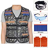 Kids Jungle Camouflage Tactical Vest Jacket Kit (with 50pcs Blue Foam Darts + Protective Goggles Glasses+Seamless Skull Face Mask+2 Pcs 5-dart Quick Reload Clip) for Nerf Toy Gun N-strike Elite Series