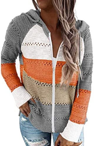 Biucly Women's Casual Long Sleeve Zip Up Hoodie Jacket Lightweight Drawstring Color Block Knitted Sweatshirt