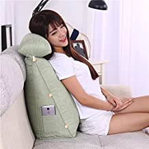 Hiltow Adjustable Triangle Back Wedge Cushion Pillow Sofa Bed Office Chair Rest Cushion Throw Pillow (Green)