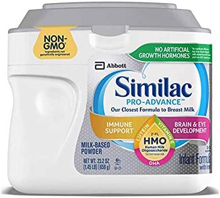 Similac Pro-Advance Non-GMO Infant Formula with Iron, with 2'-FL HMO, for Immune Support, Baby Formula, Powder, 23.2 oz (4 Pack)