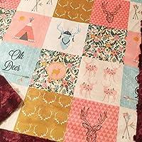 """Baby Girl Woodland Boho Deer Patchwork Minky Blanket Infant Toddler 28""""x40"""""""
