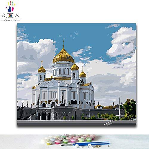 40x50 with frame 600839 KYKDY DIY Farbgebung Bilder nach Zahlen mit Farben Paris Straße Blick auf die Stadtbild Zeichnung Malen nach Zahlen gerahmt, 4017,80x100 kein Rahmen