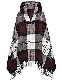 Futurino Women's Winter Boho Jacquard Plaid Hooded Poncho Cape Coverup OneSize Dark Brown