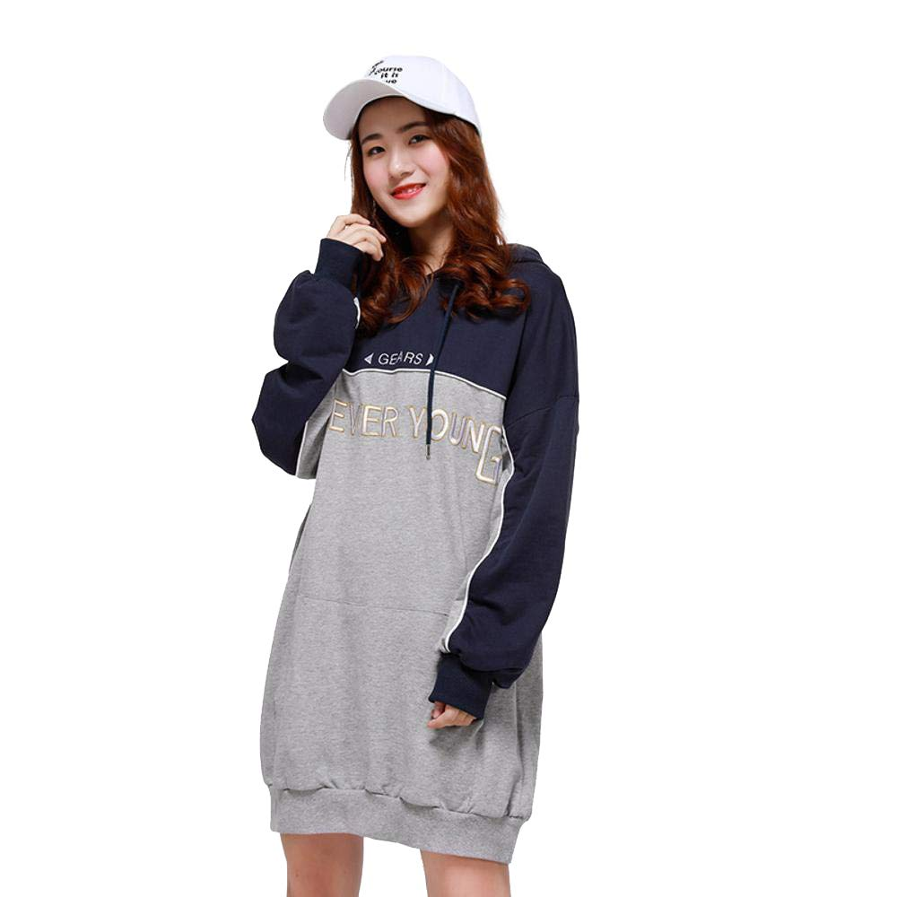Grey LXIANGP Woman Hoodies,Hooded Long Sweater Trend Student Loose Large Size Sweater Skirt Hooded Shirt Female Three color one Size