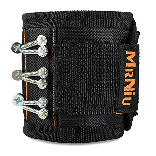 Magnetic Wristband with 15 Strong Magnets for Holding Screws, Nails, Drill Bits - Best Unique Tool Gift for Men, DIY Handyman, Father/Dad, Husband, Boyfriend, Men, Women (Black)