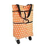 Asixx Carro de Compra Plegable, Bolso de La Carretilla, de Tela Oxford, Tamaño de La Extensión 49 X 41.5 Cm, para Usar Cuando Comprar(Naranja)