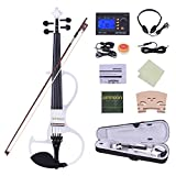ammoon Full Size 4/4 Solid Wood Electric Silent Violin Fiddle Ebony Fingerboard Pegs Chin Rest Tailpiece with Bow Hard Case Tuner Headphones Rosin Extra Strings & Bridge