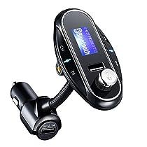 Fm Transmitter, HoLife【2017 Neuste Fm Version】Bluetooth kfz Fm-Transmitter mit Mikrofon, Freisprecheinrichtung, Auto USB Ladegerät (5V/2,1A Ausgang),und 3.5mm AUX-Eingang für iPhone 7/7 Plus/6s/6, Samsung Galaxy S7/S6/Note 5 und andere ios /Android Smartphones usw