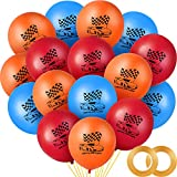 60 Pieces Race Car Latex Balloons 12inch Wheels Race Balloons Hot Wheel Themed Party Balloons with Ribbons for Kids Birthday Baby Shower Wedding Engagement Party Supply