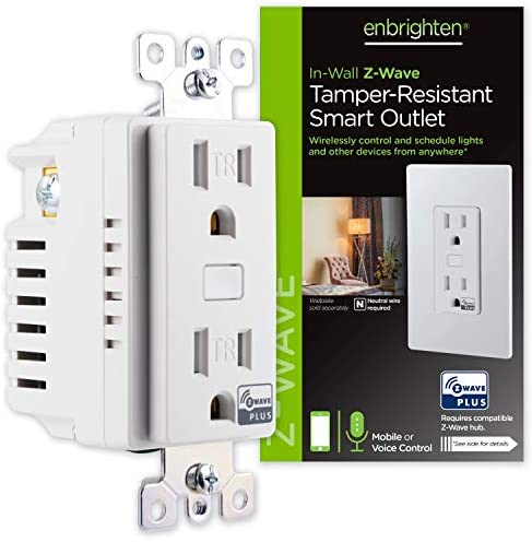 Enbrighten 55256 Z-Wave Plus Smart Receptacle, Works with Alexa, Google Assistant, Tamper-Resistant, 1 ZWave 1 Always On Outlet Hub Required, White