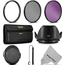 52MM Vivitar UV CPL FLD Filter Kit and Accessory Bundle for NIKON and all Lenses with a 52MM Filter Size