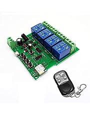 Senmubery EWeLink Remote Control WiFi Switch Module 4CH Inching Self-Locking RF Receiver WiFi Relay for Alexa IFTTT