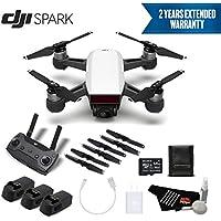 DJI Spark Portable Mini Drone Quadcopter Professional Bundle (Alpine White) w/Remote Controller + 2 Year Extended Warranty