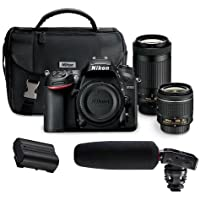 Nikon D7200 DSLR Camera Kit with AF-P DX 18-55mm f/3.5-5.6G VR Lens & AF-P DX 70-300mm f/4.5-6.3G ED Lens - Bundle With Tascam DR-10SG Camera Audio Recorder with Shotgun Mic, Nikon EN-EL15 Battery