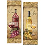 Gango Home Décor 2 Vintage Tuscan White and Red Wine Bottle and Grape Set; Two 6x18in Poster Prints