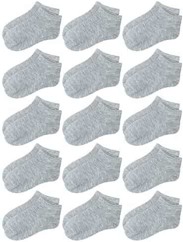 019990f86a75 Coobey 15 Pack Kids' Half Cushion Low Cut Athletic Ankle Socks Boys Girls  Ankle Socks