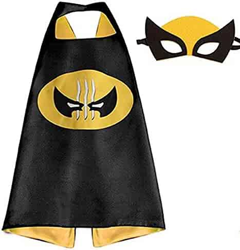 ERT13 Kids Dress up Cartoon Superhero Costume Satin Cape Matching Felt Mask