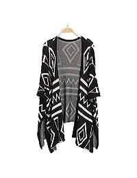 Bestmaple Women's Cotton Seal Plus Size Seed Stitch Aztec Cardigan Shawl Sweater(Black)