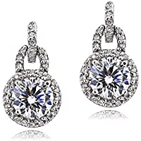 Platinum Flashed Silver 100 Facets Cubic Zirconia Round Dangle Earrings(2cttw)