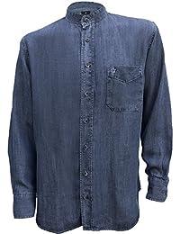 Irish Grandfather Collarless Tencel Denim Jean Shirt in Dark Blue Indigo Wash