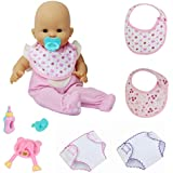 "ZITA ELEMENT 9 Pcs Baby Alive Doll Clothes & Accessories | Underwear, Bibs, Feeding Bottle & Spoon for 14-16 Inch Dolls & 18"" American Girl Doll"