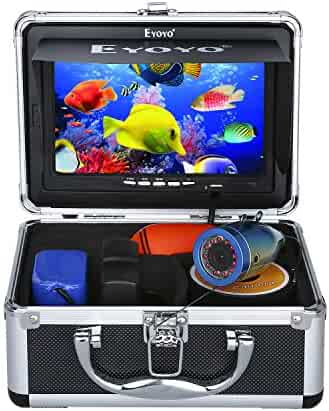 Eyoyo Portable 7 inch LCD Monitor Fish Finder Waterproof Underwater HD 1000TVL Fishing Camera 15m Cable 12pcs IR Infrared LED for Ice,Lake and Boat Fishing