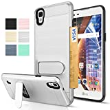 LG Tribute HD / LG X Style / LS676 / Volt 3 Case With HD Screen Protector,AnoKe [Card Slots Holder][Not Wallet] Kickstand Plastic TPU Hybrid Shockproof Heavy Duty Stand For LG X Style KC1 Grey
