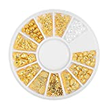 SILPECWEE 8 Boxes 3D Gold Hollow Metal Nail Studs