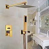 Gold Shower Head Set Rozin Wall Mount Bathroom 8 Inch Rainfall Shower Head with Handheld Spray 2-way Mixer Shower Set Gold Plating