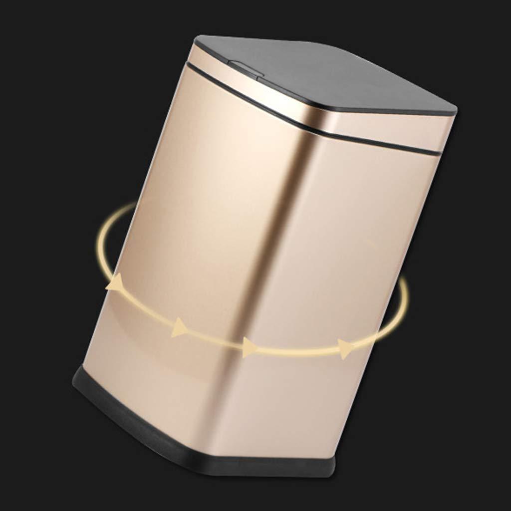 GZ Bote de Basura automático de Cubo Acero Inoxidable con Cubo de Interior extraíble A Prueba de Huellas Dactilares Circulador de inducción Inteligente Tapa silenciosa Cerrar Papelera Champagne Oro 08cc1c