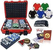casinoite Professional Poker Chips Set Billium 300 pcs   10 Plaques, Red Hard Case   40mm Casino Chip, 2 Decks