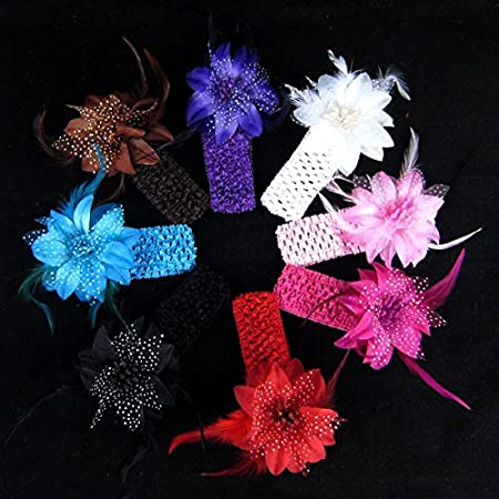 5PCS New Fashion Flower Feather Baby Girls Hair Band Headband Infant Hair Accessories-Color Purple