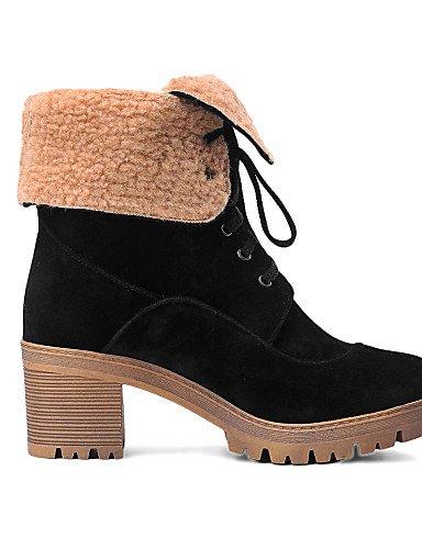 XZZ  Damenschuhe - Stiefel - Kleid Kleid Kleid   Lässig - Vlies - Blockabsatz - Rundeschuh   Modische Stiefel - Schwarz   Gelb   Rot B01L1GSX28 Sport- & Outdoorschuhe Adoptieren 25ae4f