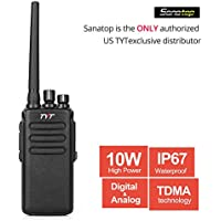TYT MD-680 10-Watt High Power DMR Analog/ Digital Mobile Radio, IP67 Waterproof Dustproof Two-Way Radio, UHF 400-480 Walkie Talkie Transceiver, Communicate with Motorola DMR Radios & 2200mAh Battery