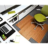 Bamboo Deluxe Roll-Up Chairmat, 55   x 57  , with lip