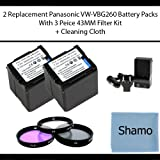 Accessory Kit for Panasonic Digital Camcorders with 2 Replacement Battery Packs for Panasonic VW-VBG260 For Panasonic HDC-HS25 HS300 SD200 DX3 HMC40 HMC70U HSC1U DX1 DX3 HS20 HS200 HS250 HS300 SD200 SD20 SD3 TM20 TM300 Digital Camcorders +3 Piece 43 MM Filter Kit (UV,PL,FLD) +AC/DC Charger +Cleaning Cloth