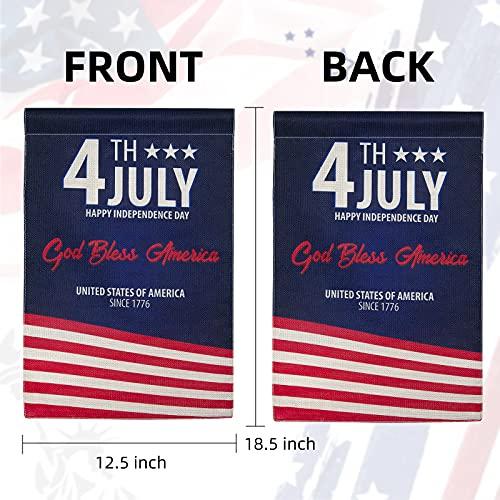 4th of July Garden Flag Patriotic God Bless America 12.5