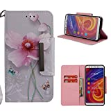 for Xiaomi Mi A2/6X Wallet Case with Card Holder,Xiaomi Mi A2/6X Leather Phone Cases and Screen Protector,QFUN Elegant Pattern Design [Pink Lotus] Magnetic Closure Stand Function Shockproof Anti-Scratch Drop Protection Etui Shell Bumper Protective Flip Cover with Lanyard