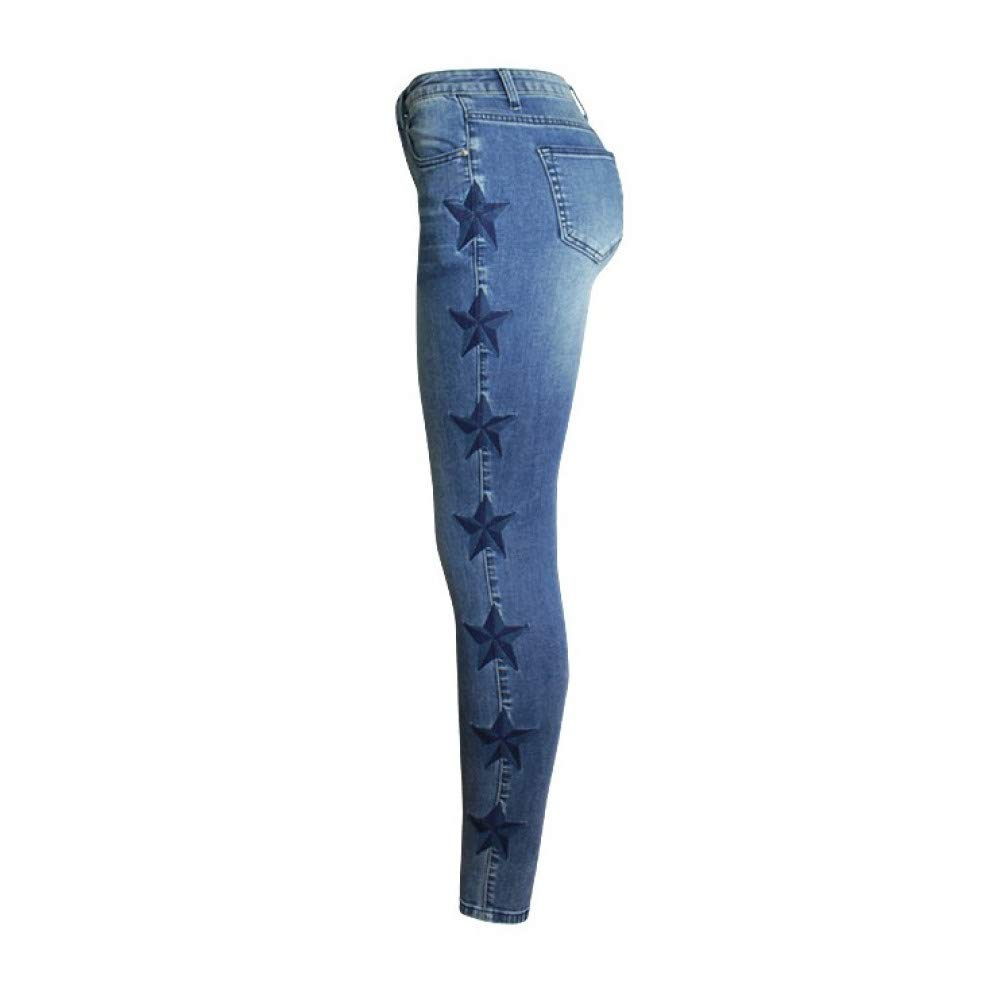 bluee FSDFASS Jeans New Women's Vintage Star Embroidery Jeans Stretch Denim Pants Female Skinny Trousers for Women