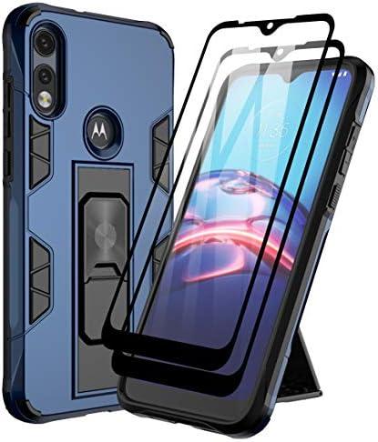 Dahkoiz Case for Moto E 2020 Case with Tempered Glass Screen Protector[2 Pack],Rugged Ring Grip MotoE Kickstand Case Cover Military Grade Protective Phone Cases for Motorola Moto E 2020/E7, Blue