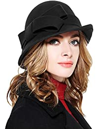 Women Solid Color Winter Hat 100% Wool Cloche Bucket with Bow Accent