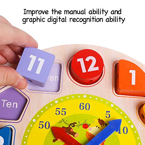 Babys Wooden Shape Color Sorting Clock Teaching Time Number Blocks ...