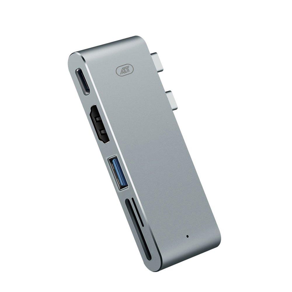 USB-C Multi-Port Adapter Hub 5 in 1 Port. USB-C to USB-C, USB, HDMI, SD Card, Micro SD for MacBook
