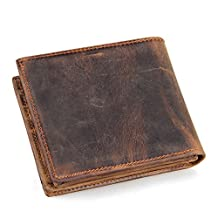 BAIGIO Men's Vintage Genuine Leather Wallet with Card Case