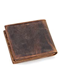 BAIGIO Men's Vintage Genuine Leather Wallet with Card Case