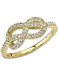 Elegant 14k Yellow Gold Diamond-Studded Infinity Forever Love Knot Promise Ring