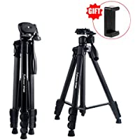 Camera Tripod,Sobrovo 60 Inch Portable Travel Aluminum Lightweight Tripod for Canon Nikon Sony Olympus DV DSLR SLR with Phone Clip,Bubble Level,Load Up to 22lbs/10kg(Black)