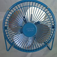CHECKYS DEALS BLUE 6 INCH METAL BLADE AND CAGE DESK TOP FAN USB POWERED