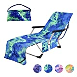 Pool Chair Cover with Side Pockets,Microfiber